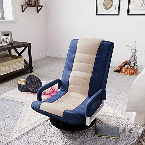 MERITLINE Swivel Video Rocker Gaming Chair Adjustable 7-Position Floor Chair Folding Sofa Lounger (Blue+Beige)