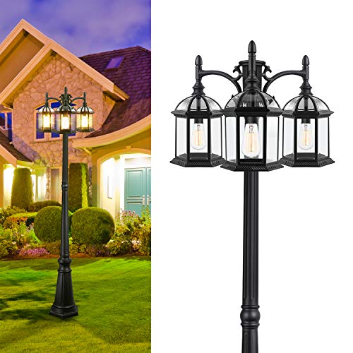 CINOTON Outdoor Lamp Post Light, 3-Head Surface-Mount Post Waterproof Outside Pole Light Aluminum, Black Birdcage Design Outdoor Street Light Pole Lamp Triple-Head for Backyard, Patio, Garden, Walkway