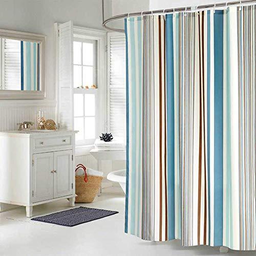 JRing Duschvorhang Textil 180x200 Farbige Streifen Schimmelresistenter & Wasserabweisend Shower Curtain mit 12 Weiß Duschvorhangringen