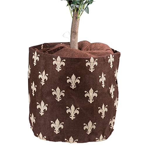 AFP Jute-Übertopf Lilien Natur/Beige, Dekorativer Blickfang, schützt im Winter Küblpflanzen vor Frost. Winterschutz Pflanzen / 2 Jutesäckchen Gratis