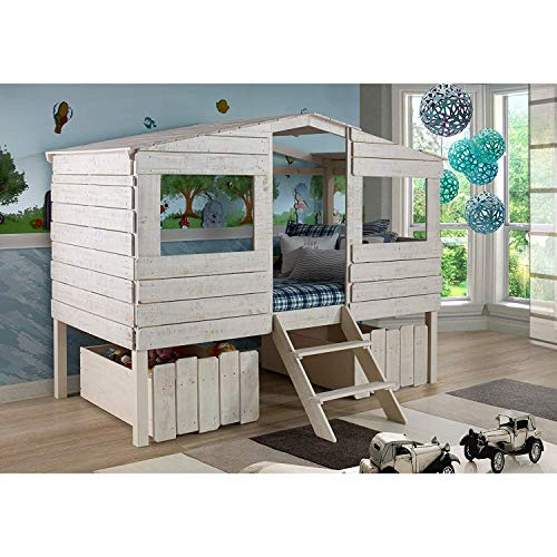 Donco Kids Rustic Sand Twin Tree House Loft Bed with Storage Drawers