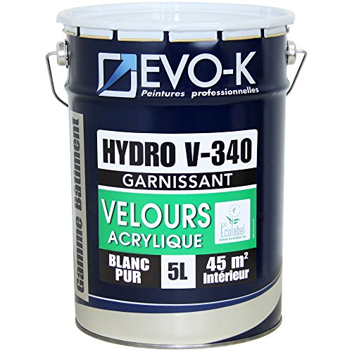 EVO-K Peinture professionnelle Murs & Plafonds HYDRO V340 Acrylique Blanc Velours 5L - 45m²