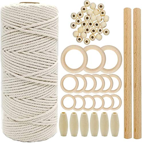 Natural Macrame Cord 3mmx100m Cotton Cord with 12pcs Wood Ring and 2 Wooden Stick for DIY Craft Plant Hangers Knitting