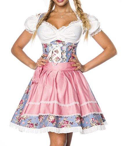 Dirndl Kleid Kostüm mit Bluse und Schürze aus Denim Stoff und Spitze Spitzenstoff Oktoberfest Dirndl blau/rosa/weiß L Oberteil