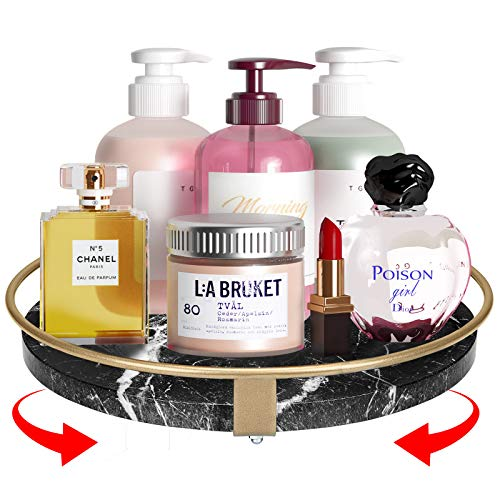 Greenstell Lazy Susan Turntable Cabinet Organizer 10 Inches Round Rotating Turntable Spice Organizer Organization for Cabinets Pantry Countertop Vanity Bathroom Single Layer Marble