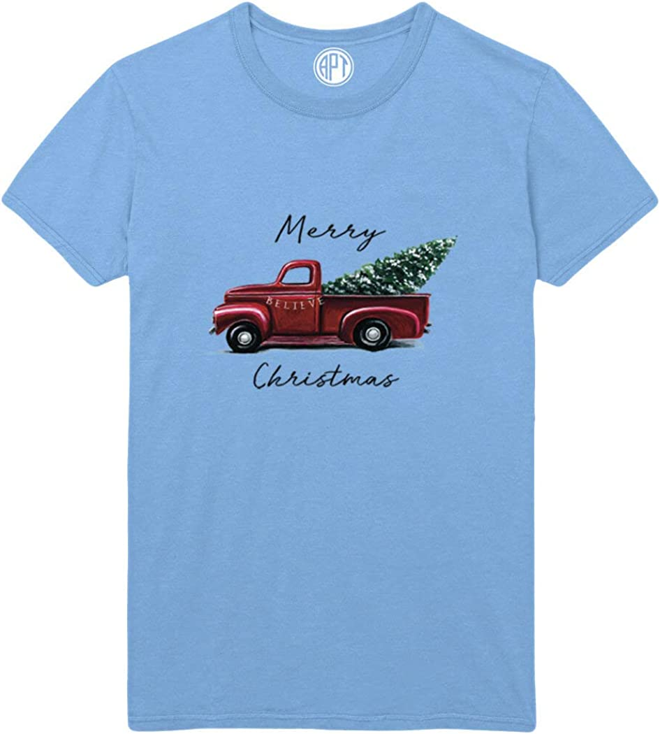 Merry Christmas with Tree in Red Truck Printed T-Shirt