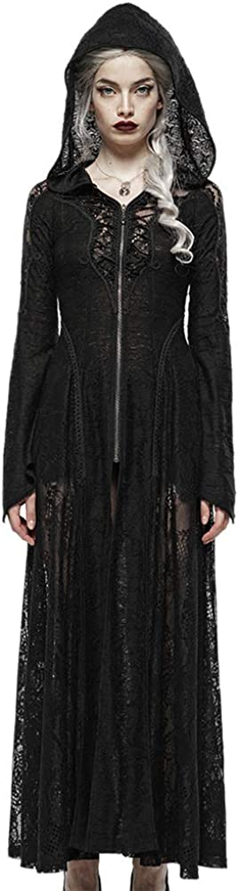 Punk Rave Women's Darkmoon Cage Yarn Long Coat Patchwork Knit Lace Mesh Slim Fit Long Sleeve Hooded Jacket