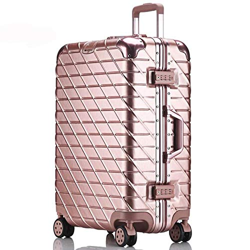 Aluminum Rolling Luggage Spinner Travel Suitcase Lock Cabin Luggage Women Boarding Box Carry On Bag,Roae Gold,26