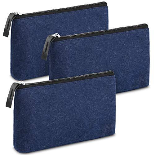 Mr Pen- Pencil Case Pencil Pouch 3 Pack Blue Felt Fabric Pencil Case Pen Bag Pencil Pouch Small Pen Case School Supplies Pencil Case Pencil Bags Pen Pouch Pencil Pouches with Zipper