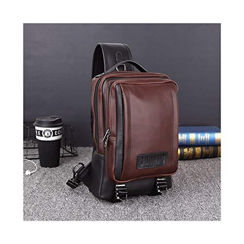 T-ara The New Leather Mens Chest Pack Sling Bag Individual Shoulder Bag Enceinte Capacity Handbag Male Messenger Chest Bag Essential for hiking (Color : Brown, Size : 23x7x32 cm)
