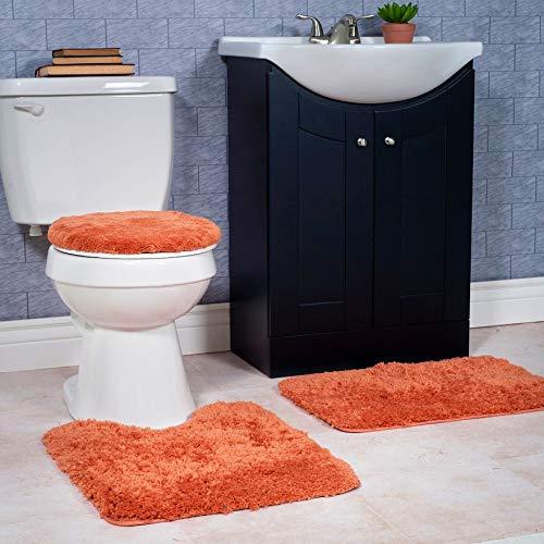 GorgeousHome Versatil Solid Plain Bathroom Set Bathroom Bath Rug Contour with Toilet Lid Cover Rubber Backing Mats in Many Colors (#6 Orange)