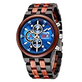 Wooden Watch Chronograph Watches Stylish Wood and Stainless Steel Combined Quartz Casual Wristwatches Ebony Red and Blue Surface