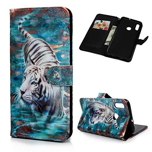 Handyhülle Kompatible für Huawei P Smart 2019/Honor 10 Lite Hülle Hülle Flip Cover PU Leder Tasche 3D Muster Flipcase Schutzhülle Handytasche Skin Ständer Klapphülle Schale Bumper Brieftasche-Tiger