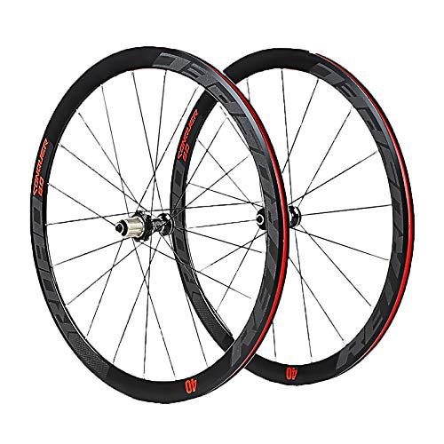 QDY-Juego de Ruedas de Bicicleta 4 Rodamientos Aluminio Ultraligero 40 Knife Road 700C Wheel