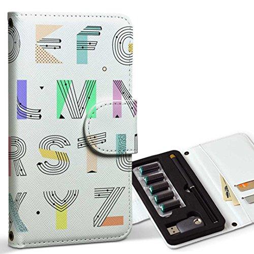 スマコレ ploom TECH プルームテック 専用 レザーケース 手帳型 タバコ ケース カバー 合皮 ケース カバー 収納 プルームケース デザイン 革 アルファベット ポップ 英語 012996