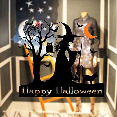 Halloween Muursticker heks uil vleermuis oranje crescent patroon persoonlijkheid creatieve riemlijm gemakkelijk te scheuren letsel de muur niet op vakantie
