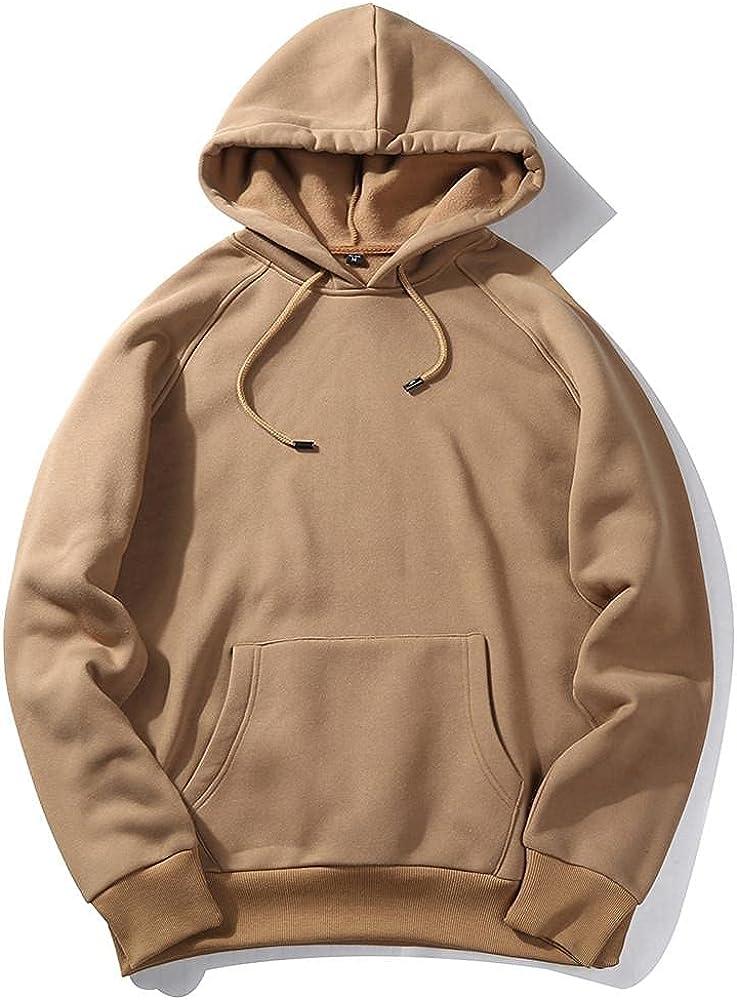 Hoodies for Men Men's Autumn Casual Solid Hip Loose Fit Fleece Long Sleeve Hoodie Top Blouse Fashion Hoodies and Sweatshirts
