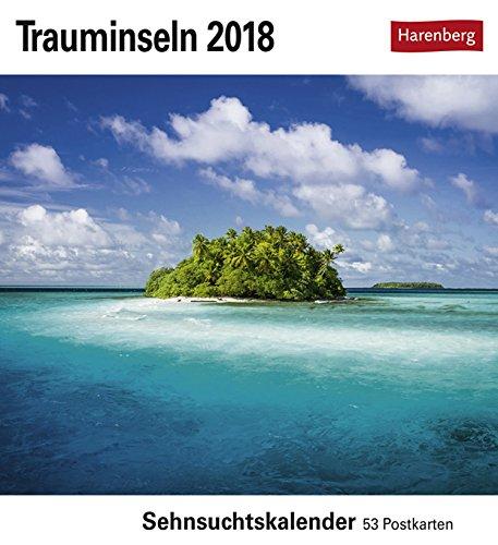 Sehnsuchtskalender Trauminseln - Kalender 2018 - Harenberg-Verlag - Postkartenkalender mit 53 heraustrennbaren Postkarten - 16 cm x 17,5 cm