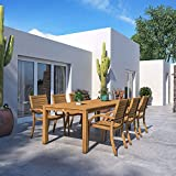 Amazonia Moline 7-Piece Outdoor Rectangular Dining Table Set   Teak Finish   Ideal for Patio and Indoors
