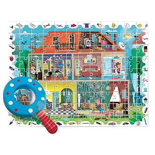 Ludattica Detective Puzzle La MIA Casa My House 108 Piezas 70 x 50 cm con Lupa Made in Italy