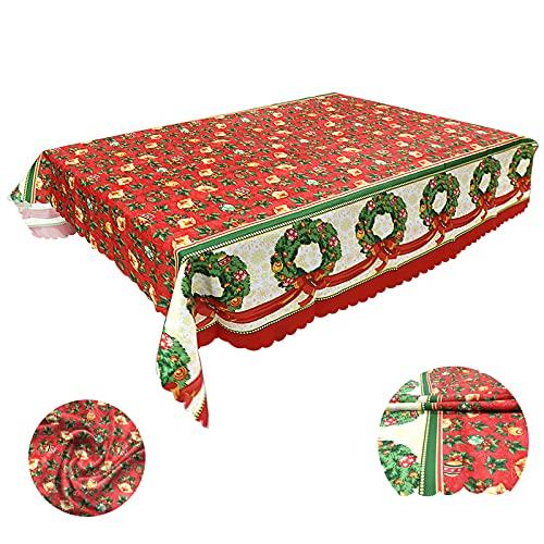 Mantel Lavable Estampado Navideño Mantel Navideño Rojo Lavable Antimanchas 150 * 180cm Manteles Rectangulares Antimanchas Navidad Rojo con Motivo de Guirnaldas y Campanas para Navidad Comedor Cocina
