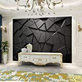 Moderno Minimalista Estilo Industrial Oficina Fondo Papel Tapiz Tecnología Sentido Negro Geométrico Papel Tapiz Mural 3D,150Cmx105Cm