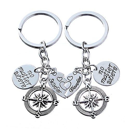 2pcs Mutter Tochter Schlüsselkette gesetzt keine Materie, wo Kompass Split gebrochenes Herz Familie Geschenk für Frauen Mädchen