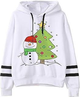 Mujer Sudaderas de Navidad Pullover Sudadera con Capucha Suéter Casual Ropa para Mujer con Estampade Navideño Transpirable...