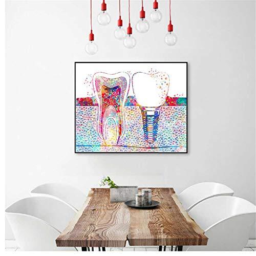 czjungbf Imagen de Arte Dental Implante Dental Impresión de Lienzo Dentista Arte de la Pared Pintura Medicina Higienista Cartel Diente Acuarela Clínica Decoración -50x70cm Sin Marco