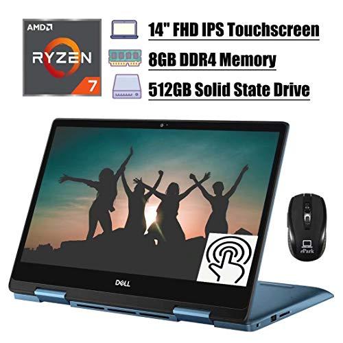 Flagship 2020 Dell Inspiron 14 5000 2 in 1 Laptop, 14'' FHD IPS Touchscreen, AMD Quad-Core Ryzen 7 3700U (Beat i7-7500U), 8GB DDR4 512GB SSD, Backlit KB FP Win 10 (Blue) + ePark Wireless Mouse