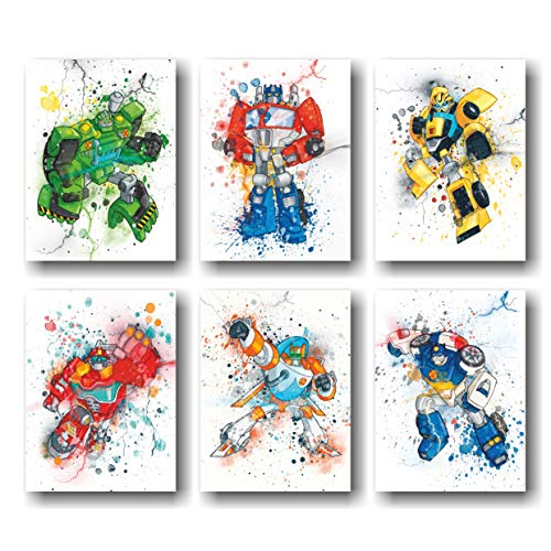 Transformers Poster - Set of 6 Wall Decor - (UNFRAMED 8'x10') 8x10 inch Canvas Picture, Transformers Watercolor, Transformers Pictures For Wall, Posters For Boys Room