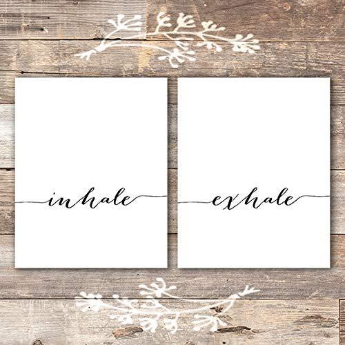 Inhale Exhale Wall Art Prints - (Set of 2) - Unframed - 8x10   Inspirational Wall Art