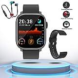 Montre Connectée Femmes Homme Smartwatch Etanche Bracelet Connecté Cardio Podomètre Bluetooth Tactile Smart Watch Montre Sport Fitness Trackers d'Activité Chronomètre pour Android iOS Téléphone(Noir)