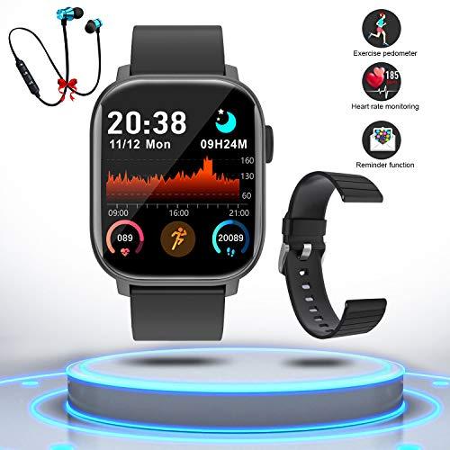 Smartwatch Reloj Inteligente Hombre Mujer Niños Monitor Pulso Cardiaco Pulsera Actividad Reloj Inteligente Cardio Podómetro Bluetooth Reloj Deportivo Rastreadores Cronómetro para Android iOS(negro)
