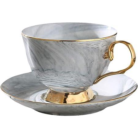 OUNONA カップ ソーサー セット マグカップ おしゃれ ティー コーヒー 兼用 250ml(グレー)