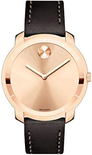 Bold Rose Gold Sunray Dial Ladies Leather Watch 3600475