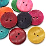 50PCs Wood Sewing Buttons Scrapbooking 2 Holes Round Mixed 3cm(1 1/8) Dia.