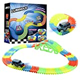 Funspread Race Track and Toy Cars, Flexible Race Tracks Playset - 236 Piece STEM Building Track Toy Learning Toy for Kids