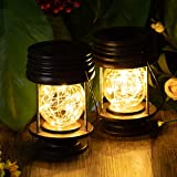 Solar Lanterns Outdoor Hanging Waterproof Decorative Landscape Solar Table Lights Yard Garden Patio Warm White Lamps with Fairy LED Lights for Indoor Tabletop Desk Solar Hanging Light 2 Pack