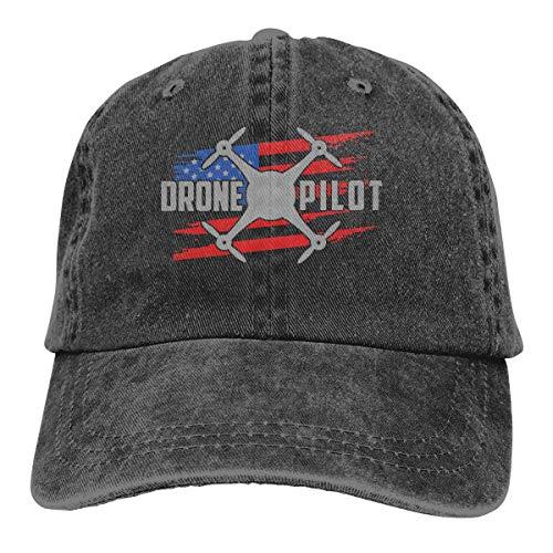 Qidsuf Hombres y Mujeres Pantalones Vaqueros Ajustables Gorras de béisbol Drone Pilot Bandera de EE. UU. Sombrero de papá