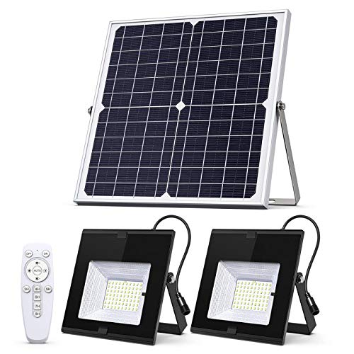 Solar Flood Lights Outdoor Indoor Dusk to Dawn with Smart Remote Control 22W Solar Panel Dual Head 70LED IP65 Waterproof Solar Shed Light for Garden Garage Path Pool Patio Sign Barn Driveway Backyard