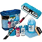 Aero Cosmetics Waterless RV Aircraft Boat Wash Wax Mop Kit with Deluxe Pole, No Ladder Needed, Wash, Wax, Dry, Anywhere, Anytime, No Restrictions