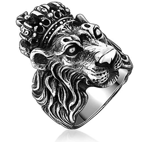 Lion Head Ring for Men, Punk Animal King Crown Lion Ring, Hip Hop Cross Ring, Lion Totem Ring, Amulet Ring, Heavy Metal Rock Punk Style Gothic Biker Ring, Viking Lion Jewelry Gift for Men Boys (T1/2)