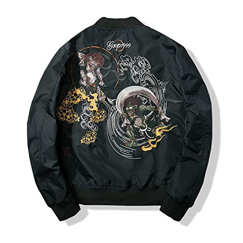 UNUStyle Bomberjacke Japan Stil Stil Dämon Stickerei Schwarz Dicken Hip Hop Herren Streetwear Motorrad Kleidung Harajuku Casual Retro Classic Warm Winter, XL