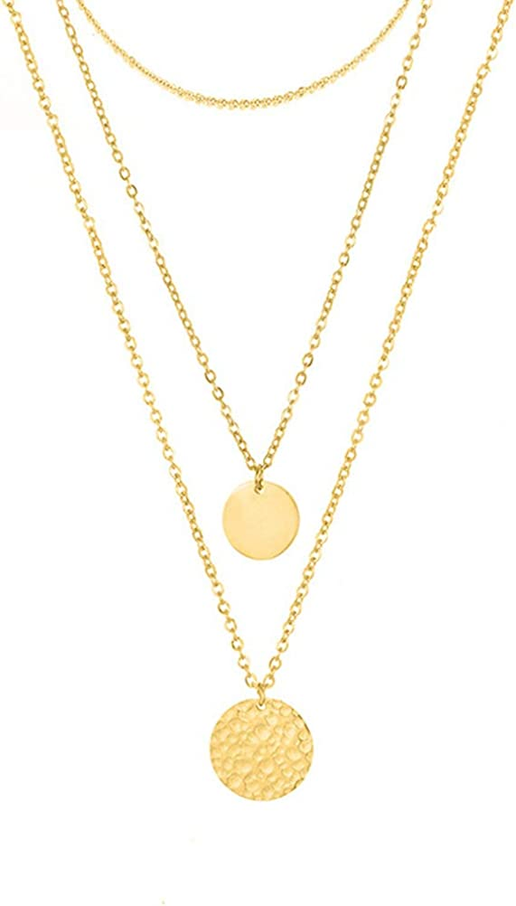 Layered Choker Necklace 14K Gold Plated Coin Pendant X Bar Necklace Multilayer Adjustable Layering Necklaces Set for Women