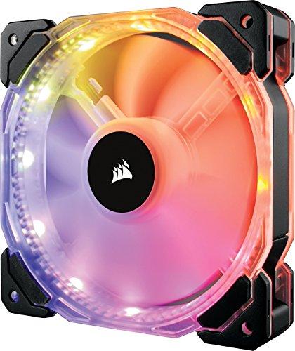 Corsair HD120 RGB LED PWM PC-Gehäuselüfter mit Controller und Hub (120mm, Single Pack) schwarz