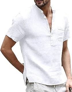 Mens Linen Henley Shirts Summer Short Sleeve Banded Collar V Neck Beach T Shirt Blouse with Pocket