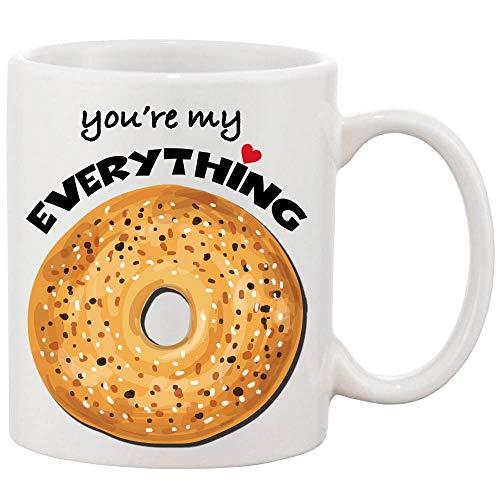 Koffiemok, Je bent Mijn Alles Keramische Koffie/Theemok - Wat gaat Beter met een kopje koffie of thee dan een Bagel (11oz.)