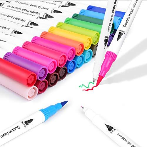 ZOYJITU Pinselstift Set Pinselstiften Aquarellpinsel Brush Pen Set, 24 Farben Pinselstifte mit Zwei Spitzen, Pine Fineliners Filzstifte, Markierungen auf Wasserbasis, Textmarker-Stift für Kalligraphie