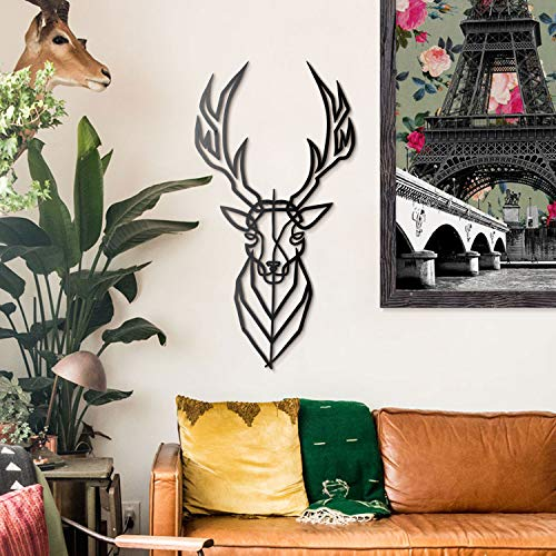 Hoagard Deer Metal Wall Art Hirsch-Metallwandkunst, 39cm x 75cm | Geometrische Metallwandkunst & Wanddekoration Wohnzimmer Esszimmer Kinderzimmer Dekoration